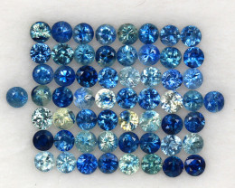 4.02ct.2.4-2.5MM.DIAMOND CUT MULTI COLOR SAPPHIRE NATURAL GEMSTONE 58PCS.