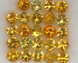 4.14 ct.3.4MM.DIAMOND CUT GOLDEN YELLOW SAPPHIRE NATURAL GEMSTONE 24PCS.