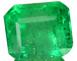 Natural Vivid Green Emerald Octagon Cut Colombia 0.38 Cts