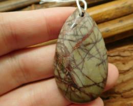Teardrop picasso jasper pendant bead (G2184)