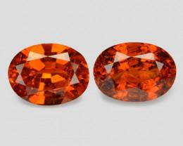 2.06 Cts 2 Pcs Natural Orange - Red Spessartite Garnet Loose Gemstone
