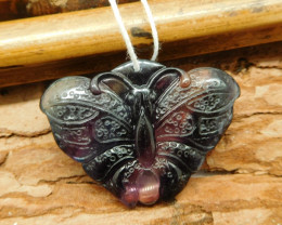 Natural fluorite carved butterfly pendant (G2199)