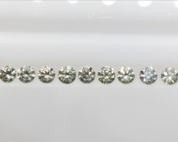 9 PCS/0.96 cts , Natural Round Diamonds , Off white Light Colored Diamonds