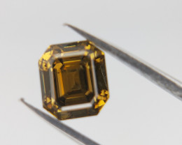 0.71 CTS , Green Natural Diamond , Emerald Brilliant Cut