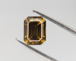0.41 CTS , Green Natural Diamond , Emerald Brilliant cut