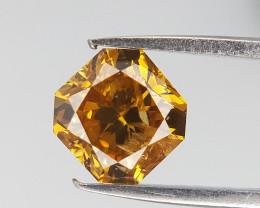 0.53 CTS , Orangy Yellow Diamond , Radiant Brilliant Cut