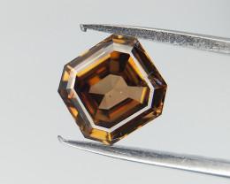 Fancy Orangy Yellow Diamond , 0.46 cts , Emerald Brilliant Cut