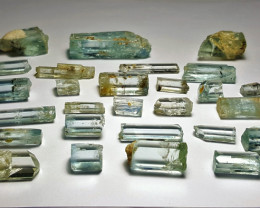 Amazing Natural color Aquamarine crystals faceted grade lot good for facet