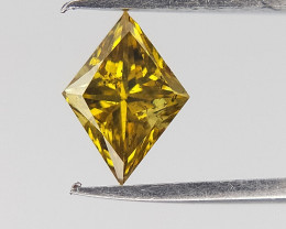 Yellow Colour Diamond , Kite Shape Brilliant Cut , 0.28 cts