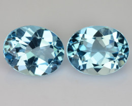 ~PAIR~ 5.88 Cts Natural Sky Blue Topaz 10x8mm Oval Cut Brazil