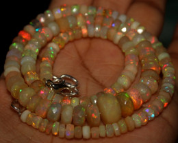 85 Crts Natural Ethiopian Welo Faceted Opal Beads Necklace 32