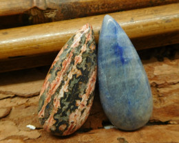 2 PCS Cabochon african sodalite and leopard skin jasper cabochon (G2245)