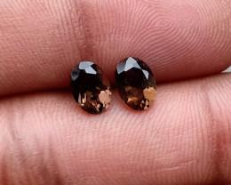 7x5 mm Smoky Quartz Gemstone Pair 100% Natural and Untreated Gems VA3700