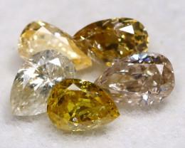 Fancy Diamond 0.40Ct 5Pcs Natural Unheated Fancy Diamond Lot A0902