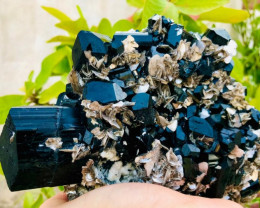 Stunning Natural color Damage free Black Tourmaline Schorl with Lovely Mica