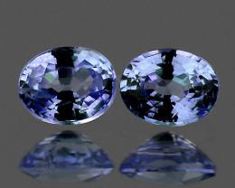 5x4 mm Oval 2 pcs 1.01ct Ceylon Blue Sapphire [VVS]