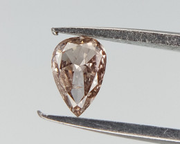 0.11 cts , Pear Brilliant Cut , Natural Extremely light brownish pink overt