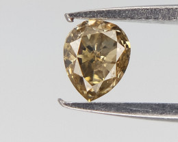 0.10 CTS , Champagne Natural Diamond , Pear Brilliant Cut