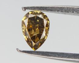 0.11 cts , Brownish Green diamond , Pear Natural Cut Diamond