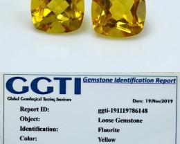 NR!!! GGTI-Certified- 3.90 Cts Yellow Fluorite Gemstone pair
