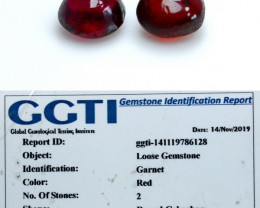 NR!!! GGTI-Certified- 2.80 Cts Red Garnet Cabochon Pair