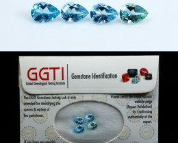 NR!!! GGTI-Certified- 3.20 Cts Blue Topaz Gemstone Calibrated