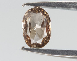 0.10 ct , Elongated Oval Brilliant cut Diamond , Natural Light Brown Color