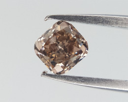 0.14 cts , Natural Cushion diamond ,Pink Brown  Diamond