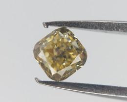 0.16 cts , Natural Cushion Cut Diamond , LIght Yellow Diamond