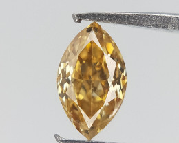 0.13 cts , Yellow Diamond , Natural Marquise Brilliant cut