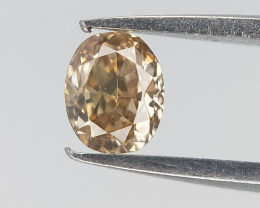 0.14 CTS , Sparkling Oval Diamond , Dark Champagne