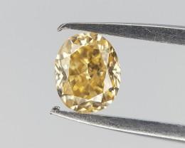 0.11 cts , Dark Yellow Natural Diamond , Oval brilliant Cut