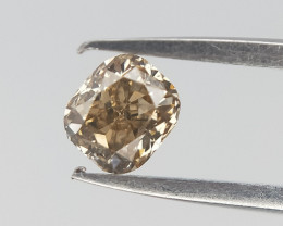 0.11 cts , Champagne Diamond  , Cushion Cut