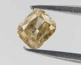 0.13 CTS , Yellow Diamond , Cushion Brilliant cut