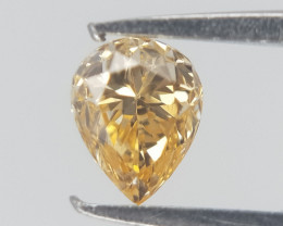 0.09 cts , Natural Yellow Diamond , Pear Brilliant Diamond