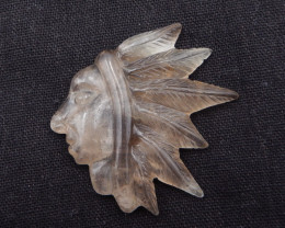 86cts Designer, Smoky Quartz Carving ,LapisIndian Cabochon H381