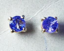 4.10 CT Natural - Unheated Blue Tanzanite Earrings
