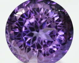 ~CUSTOM CUT~ 35.78 Cts Natural Purple Amethyst Round Bolivia