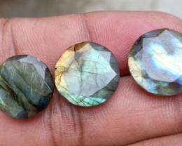 3 Pcs Labradorite Natural Gemstone Rose Cut Fancy VA3863