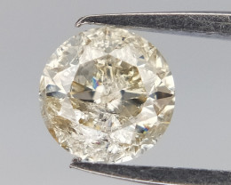 0.30 CTS , Salt And Pepper Diamond , Round Brilliant Cut , Light Champagne