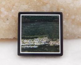 68cts obsidian,ocean jasper, white agate intarsia pendant bead H433