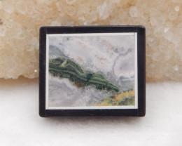 46.5cts obsidian,ocean jasper, white agate intarsia pendant bead H434