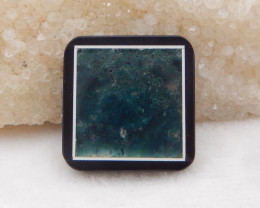 74.5cts obsidian,moss agate, white agate intarsia pendant bead H435
