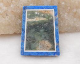 63.5cts Lapis,howlite,ocean jasper intarsia pendant bead H442