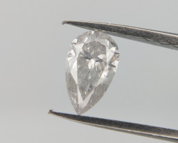 0.37 CTS ,Rare White Natural Diamond , Pear Brilliant cut