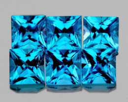 3.80 mm Square Princess 6pcs 2.00cts Swiss Blue Topaz [VVS]