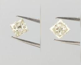 0.37 cts , Pair of Princess Brilliant cut Diamonds , Salt and Pepper Diamon