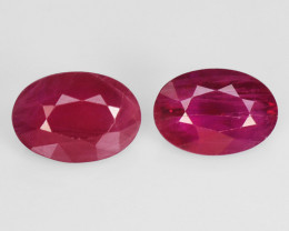 2.06 Cts 2pcs Pair Oval Shape Pinkish Red Natural Ruby BURMA  Loose Gemston
