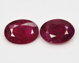 1.37  Cts 2pcs Pair Oval Shape Pinkish Red Natural Ruby BURMA  Loose Gemsto