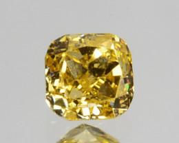 Ravishing!! 0.09Cts Natural Untreated Diamond Fancy Yellow Cushion Cut Afri